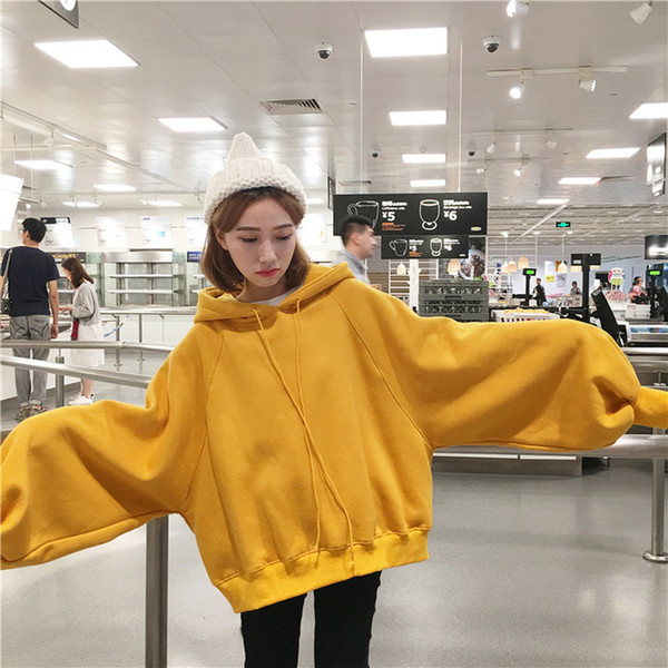 Long Lantern Sleeve Womens Yellow Hoodies Sweatshirts Oversized Tracksuits Plus Size Hooded Pullovers Tops