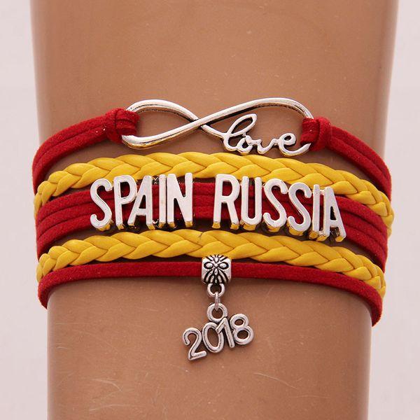 2018 World Cup Russia Band Bracelet Infinity Love SPAIN RUSSIA Charm Handmade Letter Braided Weave Bracelets Soccer Fans Jewelry
