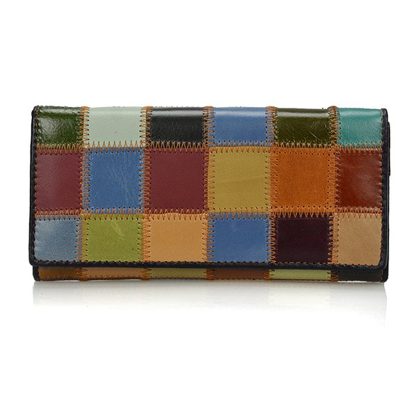 88cb680d0f3c Dreamlizer 2017 New Fashion Patchwork Women Wallets Long Genuine Leather  Purse Female Colorful Female Day Clutch Zipper Bags