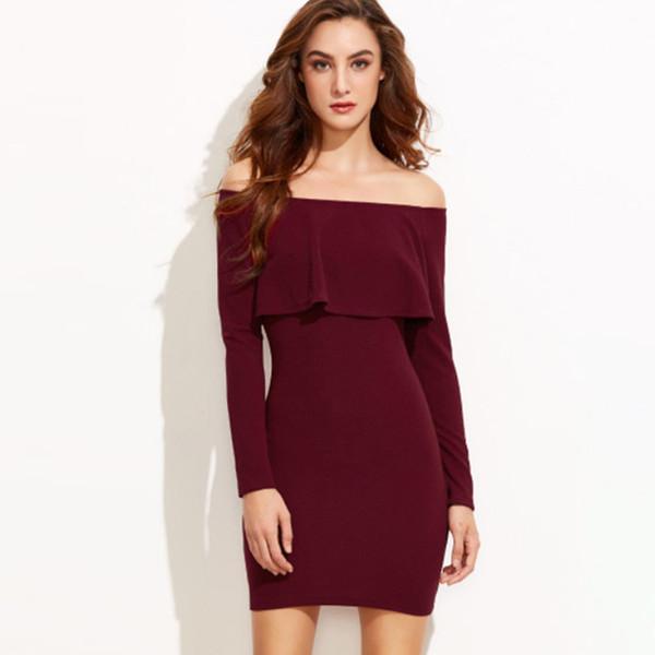 14880c0090a61 GAOKE Long Sleeve Mini Dress Sexy Bodycon Dress Burgundy Off Shoulder  Ruffle Dress 2018 Autumn Women Clothes Lace Sun Dresses Cute White Dresses  For ...