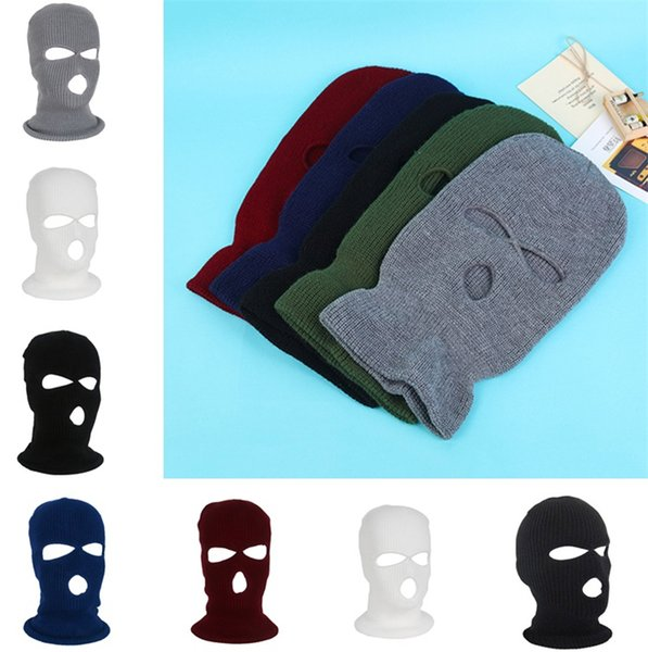 6 colors new style 3 Hole Mask Beanie Winter Warm Ski Snowboard Hat Cap Wear Full Face Cover Mask Beanie T5C060