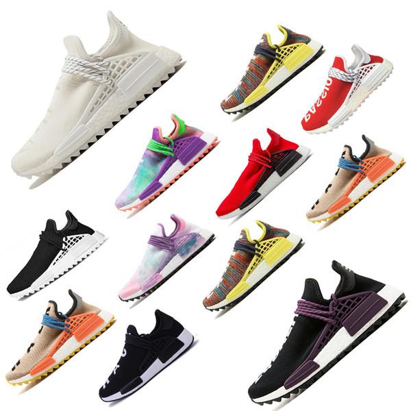 Hot sale New Pharrell Williams Human Race men women Sports Running Shoes Black White Grey primeknit PK runner womens Sneaker scarpe