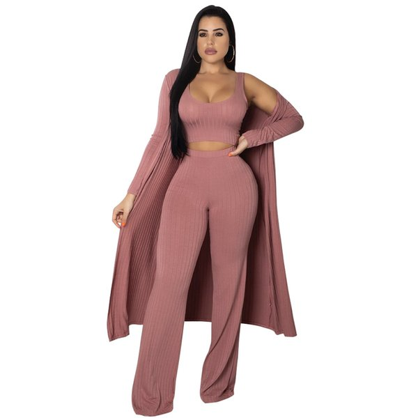 Winter Full Sleeve X-Long Cardigan 3 Piece Set Jumpsuit Long Coat+Crop Top+Wide Leg Pant Knitted Rompers Conjuntos Ropa Mujer