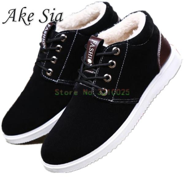 Ake Sia 2017 Winter keep warm Cotton Fabric Fabric fashion fasual shoes men lace shoes thick bottom men board Flats G1