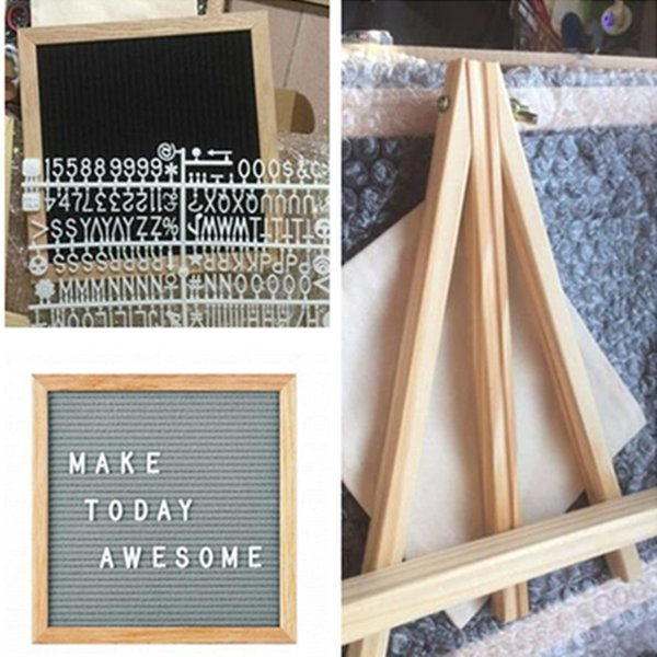 top popular with holder 10x10 Black Felt Letter Board with 340 Character Letters free Craft Knife coth pouch DIY Oak Wood Frame Easels message boards 2019