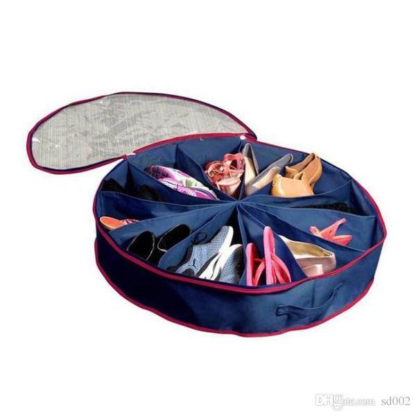 Portable Folding Fabrics Storage Bag 12 Grid Dust Proof Pouch Round Pvc Transparent Film Cover Shoes Bags Blue 13 5ry B