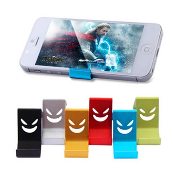 Support de support en aluminium Mini téléphone universel pour tablette en alliage métallique petit sourire diable monter couleur aléatoire pour iPhone MP4 GPS Samsung
