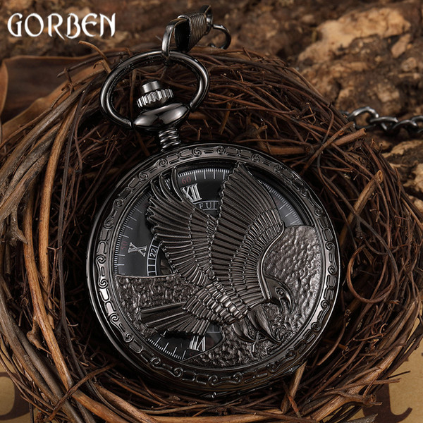 Vintage Eagle Hand-wind Mechanical Pocket Watch Mens FOB Waist Chain Hollow Black Skeleton Roman Dial Watches Male Clock Present