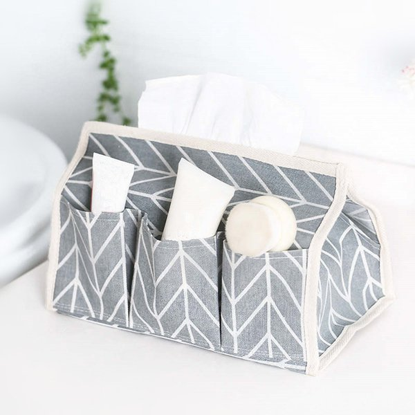 DoreenBeads Cotton Linen Tissue Box Arrowhead Pattern Waterproof Tissue Case Table Decoration 3 Colors About 25*14*17cm 1PC