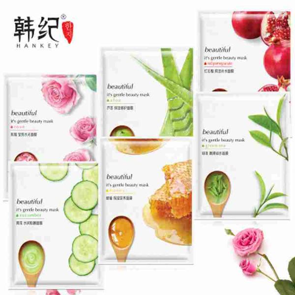 Facial Mask Aloe Rose Green Tea Honey Plant Essence Facial Mask Sheet Moisture Whitening Face Mask Pack Skin Care