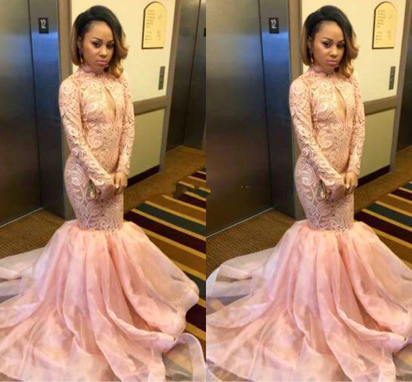 2018 Pink African Mermaid Prom Dresses High Neck Keyhole Long Sleeves Lace Applique Sweep Train Plus Size Formal Evening Party Pageant Gowns
