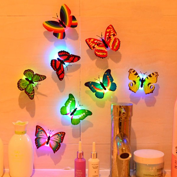 Colorful Led Butterfly Lighting Up Night Light Beautiful Home Bedroom  Decorative Wall Night Lights Atmosphere Insects Lamp Indoor Rave Toys Led  Gloves ...