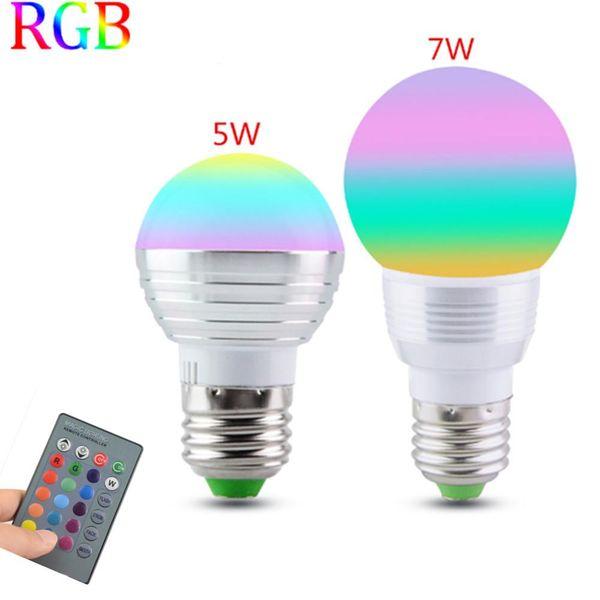 1PCS E27 RGB LED Lamba 5W 7W 85-265V LED RGB Ampul Işığı 110V 120V 220V Ledli Sedye Uzaktan Kumanda 16 Renk Değişimi Lampada