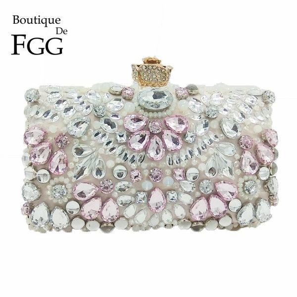 Boutique De FGG Clear Crystal strass donne borse da sera abito da sposa da sposa in rilievo borsa borsa fiore Prom frizione Y18103004