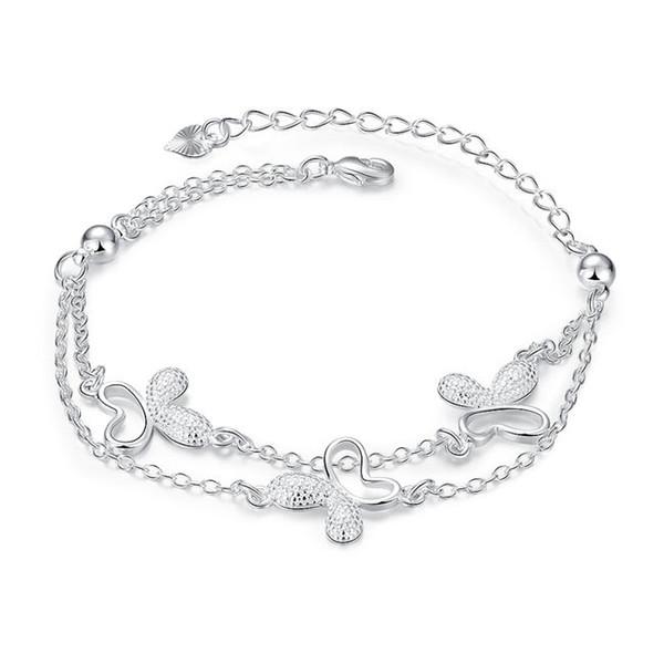 Brand new ! Butterfly Bracelet sterling silver plated bracelet SPB409 ;high quatity fashion men and women 925 silver Charm Bracelets