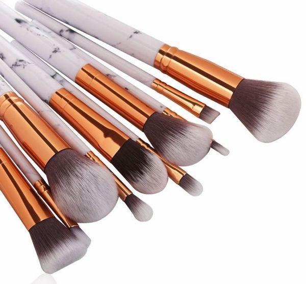 MAANGE 10Pcs Marble Texture Makeup Brushes Set Powder Foundatin Eye Shadow Contour Blush Cosmetic Marbling Make Up Brush Tool