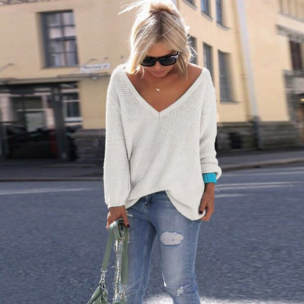 RENBANG Autumn Womens Cute Elegant V Neck Loose Casual Knit Sweater Pullover Long Sleeve Spring Sweater Tops sueter mujer