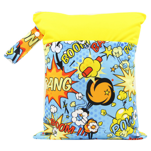 DHL Free New 30 Colors Printed baby Wet Dry Bag zipper diaper bag Infant Leopad Pockets Diapers Nappy Bags Reusable Cloth Diaper Wet Bag