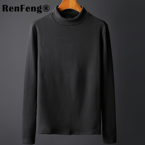Autumn 2018 Mens T Shirts Cotton Black White Gray Color For Man Long Sleeve Slim T-Shirt Male Wear Tops Plus Size Tee Shirts