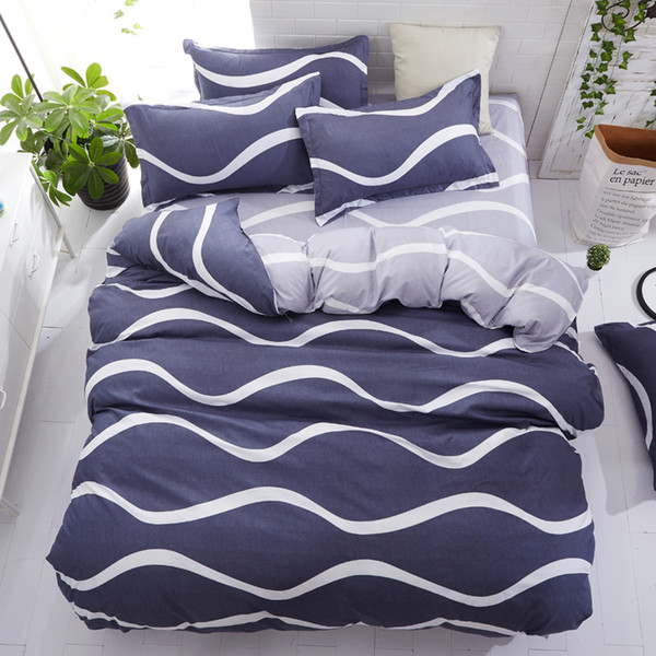 Striped Duvet Cover Quilt Cover Bed Pillow Cases Single Double Queen King Size Floral Bedding Set Soft 3pcs/4pcs