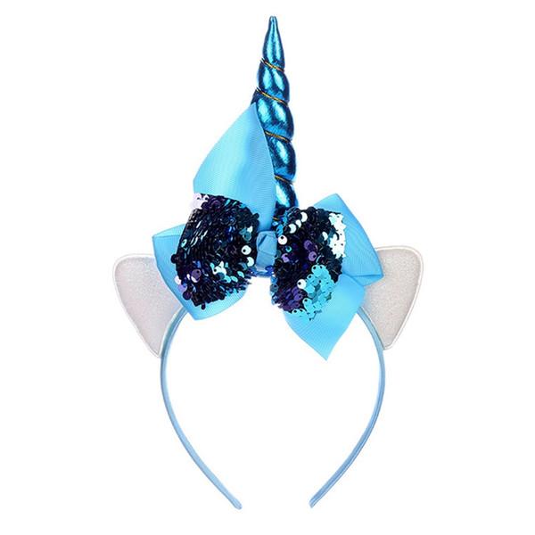 Glitter Metallic Licorne Bandeau Filles Grand Sequin Bows Hairband Pour Enfants Arc En Ciel Licorne Corne De Noël Cheveux Accessoires