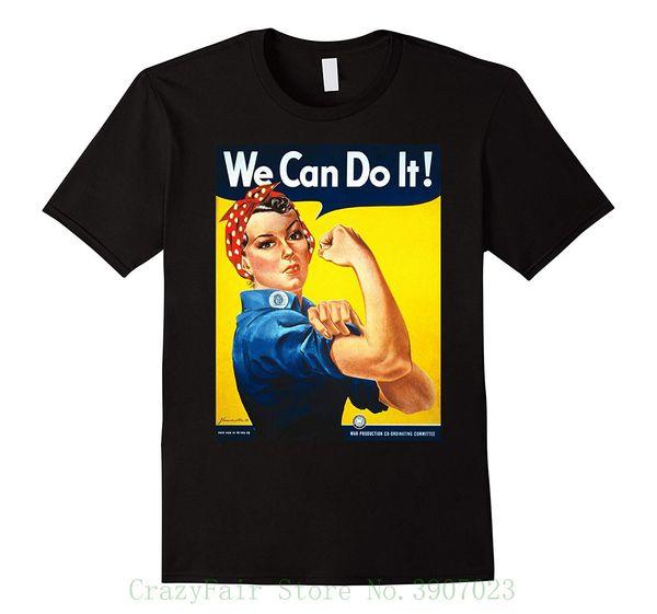 Vintage Poster Rosie The Riveter Retro T Shirt New Short Sleeve Round Collar Mens T Shirts Fashion 2018 Best T Shirt Shop Online Cool T Shirt Online