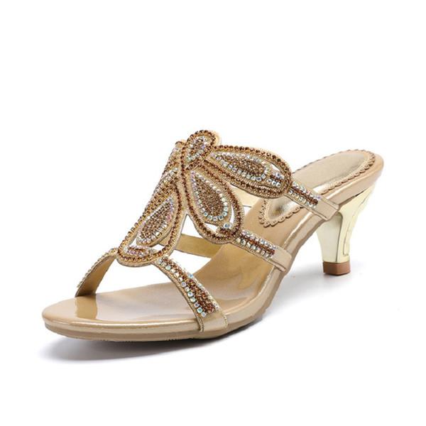 Nouveau luxe diamant talons hauts pantoufles pantoufles en ligne shopping peep toe chaussures pour femmes vente haute qualité or violet noir rouge