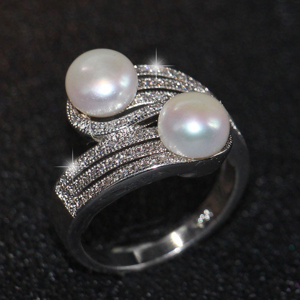 2018 New Arrival Top Selling Luxury Jewelry 925 Sterling Silver Two Pearl Pave CZ Diamond Party Office Women Band Ring For Lovers' Gift