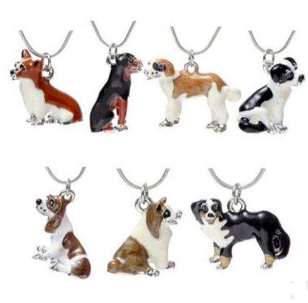 Enamel Dog Necklace Cute Best Friends Pet Dog Pendants Fashion Jewelry for Women Kids Christmas Gift 20 pcs