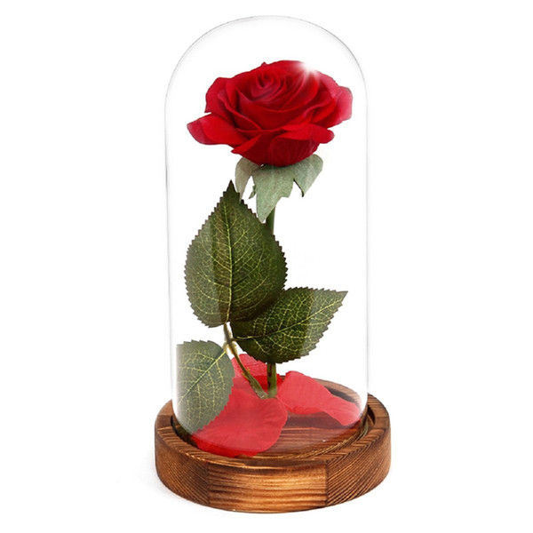 Red Forever LED Glowing Flower Red Silk Rose Immortal Fresh Rose in Glass Mother's Day Led Light with Fallen Petals in a Glass