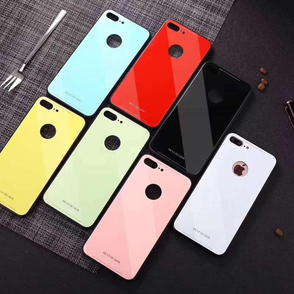 new arrival wholesales price Design Glass Candy Color Case Skin For IPhone 8 Plus X 7 6S 6 Cover