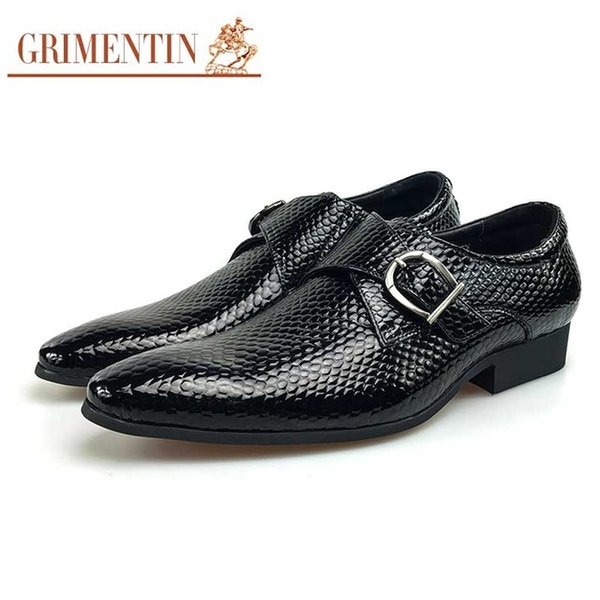 GRIMENTIN Hot sale mens dress shoes fashion patent leather buckle strap men oxford shoes high grade formal business wedding black male shoes