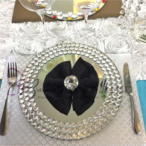 Mirror Round Charger Plate with Crystal Beaded 13 inch Glass cake plates (set of 30)wedding centerpieces