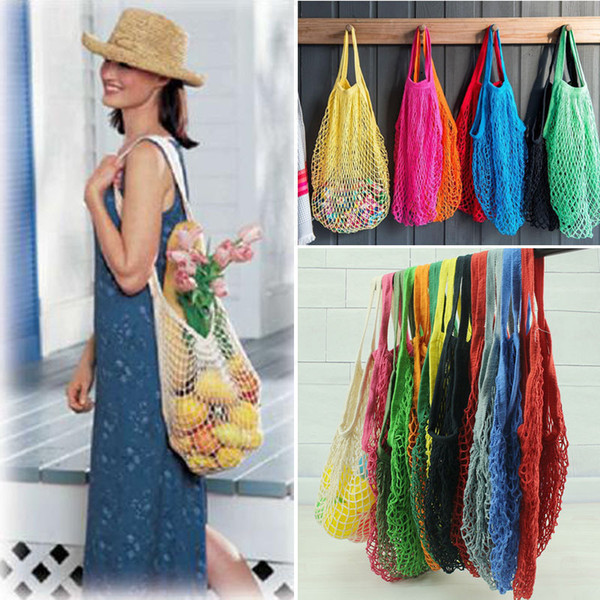 best selling 12Colors Fashion Shopping Mesh Bag Convenient Reusable Fruit String Grocery Shopper Cotton Tote Vegetables Storage Outdoor Handbag AAA568