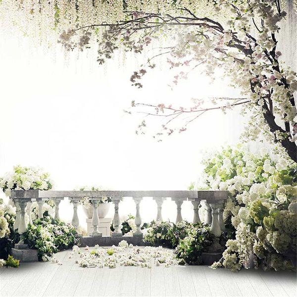 Garten Balkon Frühlingsblüten Hochzeit Hintergrund Fotografie Gedruckt Blume Baum Kinder Kinder Fotostudio Kulissen Holzboden