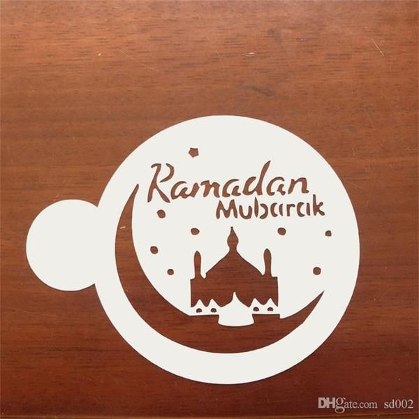 Mode Kuchen Dekor Mold Schablone Moschee Eid Mubarak Ramadan Design Fondant Kaffee Spritzen Dekoration Werkzeug Cutter Form 2 2cd ZZ