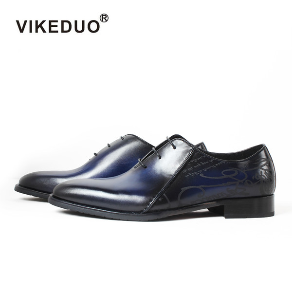 Vikeduo 2018 handmade designer mens oxford shoe genuine leather fashion luxury Wedding Party formal Dance brand Male dress shoes