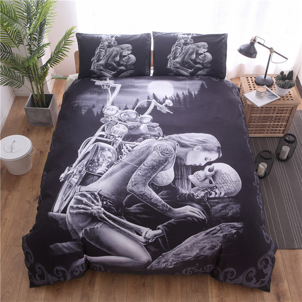 personalidad negro Skull Girl 3D impresión digital 100% poliéster Juego de cama funda nórdica Fundas de almohada Queen completa King Size 3pcs