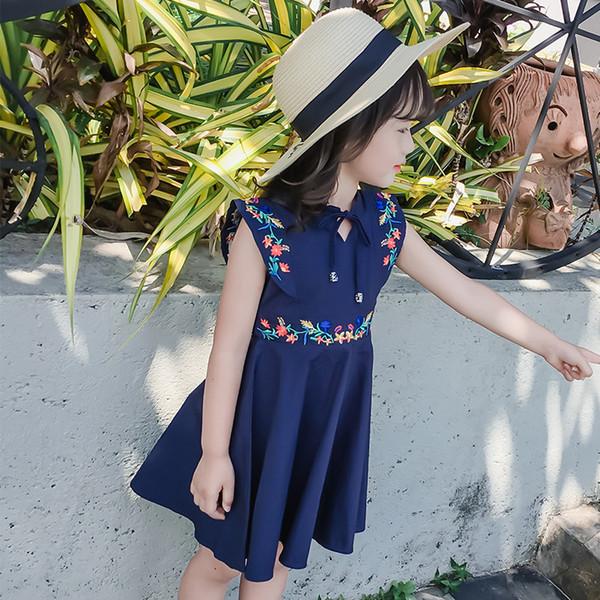 Moda Yaz Kızlar Elbiseler Çocuk Kolsuz Pamuk Çiçek Işlemeli Elbiseler Sevimli Çocuk Giyim