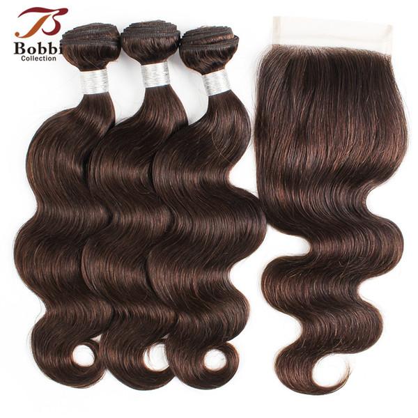 Color 2 Dark Brown Body Wave Hair Bundles with Closure Brazilian Human Hair Weaves virgin hair extensions 3 Bundles with 4*4 Lace Closure