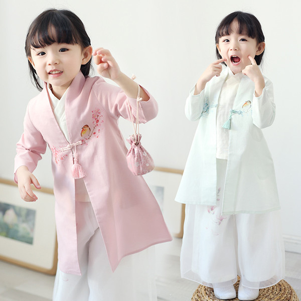 Baby Girls Cosplay Hanfu Clothing Chinese Style 3 Pieces Tang Suit Clothes Traditional Children Stage Performance Costume