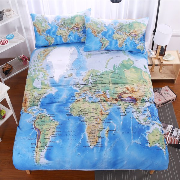 Cheap World Map 3pcs Bedding Set Vivid Printed Blue Bed Duvet Cover with Pillowcase Twill Cozy Home Textiles Queen Sizes