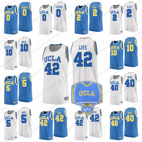 UCLA Bruins #42 Kevin Love 40 Thomas Welsh 10 Isaac Wulff 5 Chris Smith 2 Cody Riley 0 Alex Olesinski Basketball Jerseys S-3XL