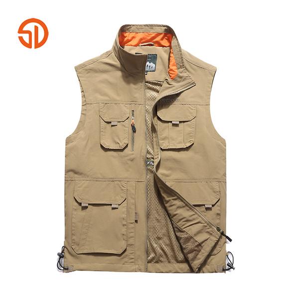 Büyük Boy 5XL 6XL Taktik Ceket Yelek Erkekler Yelek Çok Cep Kolsuz Ceket Nefes Dış Giyim Fotoğrafçı Reporter