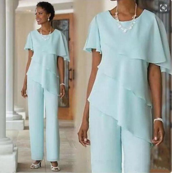 2018 Nova Mãe dos Vestidos de Noiva Calças Ternos Convidado Do Casamento Vestido De Seda Chiffon Manga Curta Em Camadas Mães Vestido Custom Made