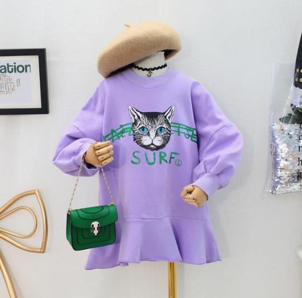 Dresses for Womens Clothes Girls Sweater 2018 Autumn Korean Children's Wear Children's Cat Print Sports Ruffle Dress