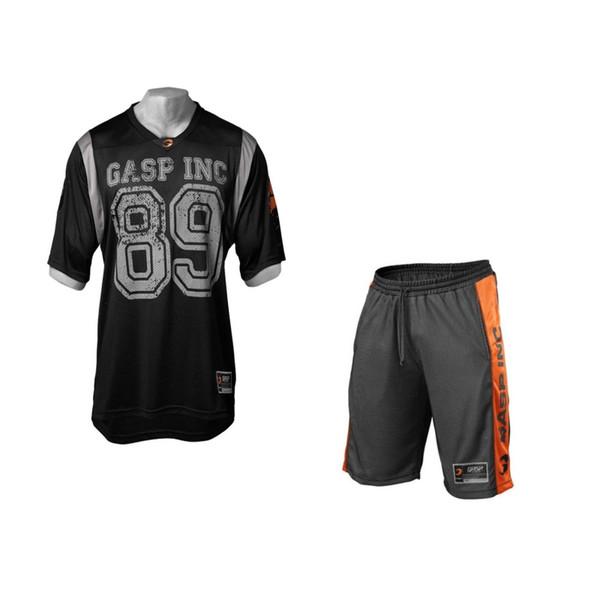 Set de dos piezas Hombres Camiseta de manga corta Camiseta corta + Pantalones cortos Chándales de los hombres 2018 Nuevo Causal Ropa deportiva Tops Pantalones cortos