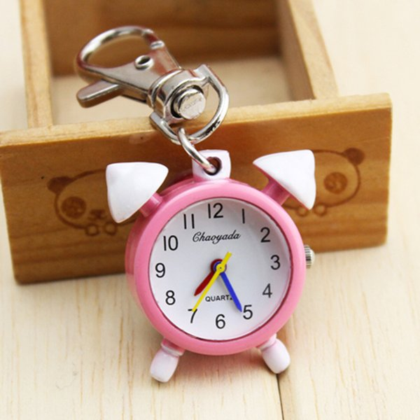 2018 hot seller children girls cartoon mini alarm clock shape quartz watches lovely key chain pocket watches kids arts fob clock