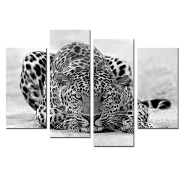 4 Pieces Canvas Painting Blue Eyed Leopard Painting Black White Wall Art Animal Picture Prints On Canvas No Framed For Home Decoration