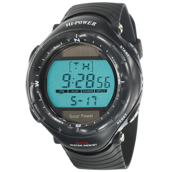 Vogue Muscle Man Digital Stoppuhr Rücklicht Wasserdicht Sport Solar Power Schwarz Uhren
